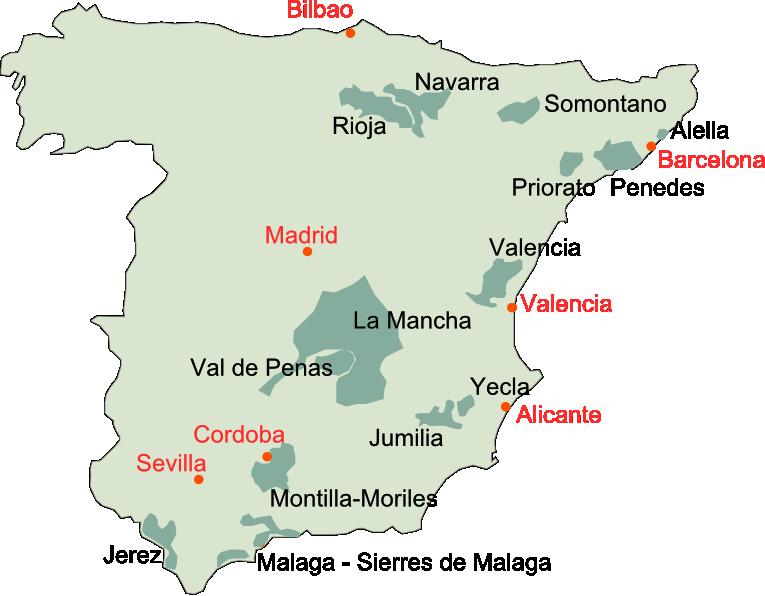 スペインワイン産地